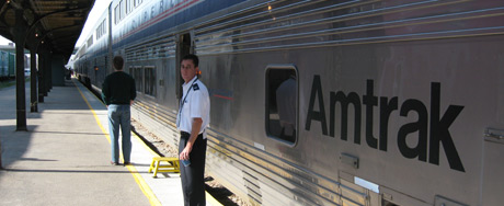 Our AmTrak sleeping car, with our attendant waiting.