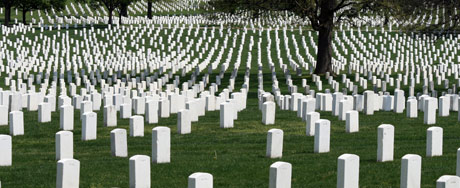Endless rows of white tombstones at Arlington
