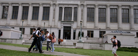 Students in front of one of the libraries at Berkeley