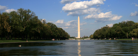 The Washington Monument and the Reflecting pool, as seen from Lincoln Memorial