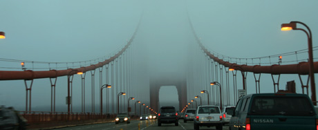 Driving into San Francisco over the Golden Gate Bridge