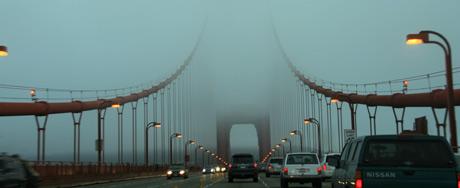 Driving into San Francisco over the Golden Gate Bridge