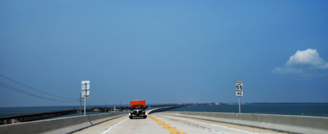 Looking back at the Seven mile bridge