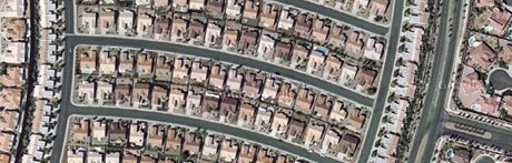 Zoomed view of houses in Las Vegas, Nevada