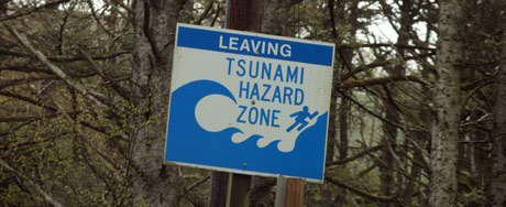 Sign of Leaving tsunami hazard zone