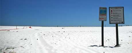 Sparkling white sand at the Pensacola beach