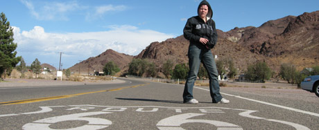 Selma posing on the Route 66