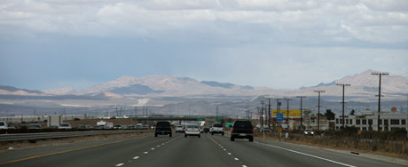 Traffic on the way from San Diego to Las Vegas